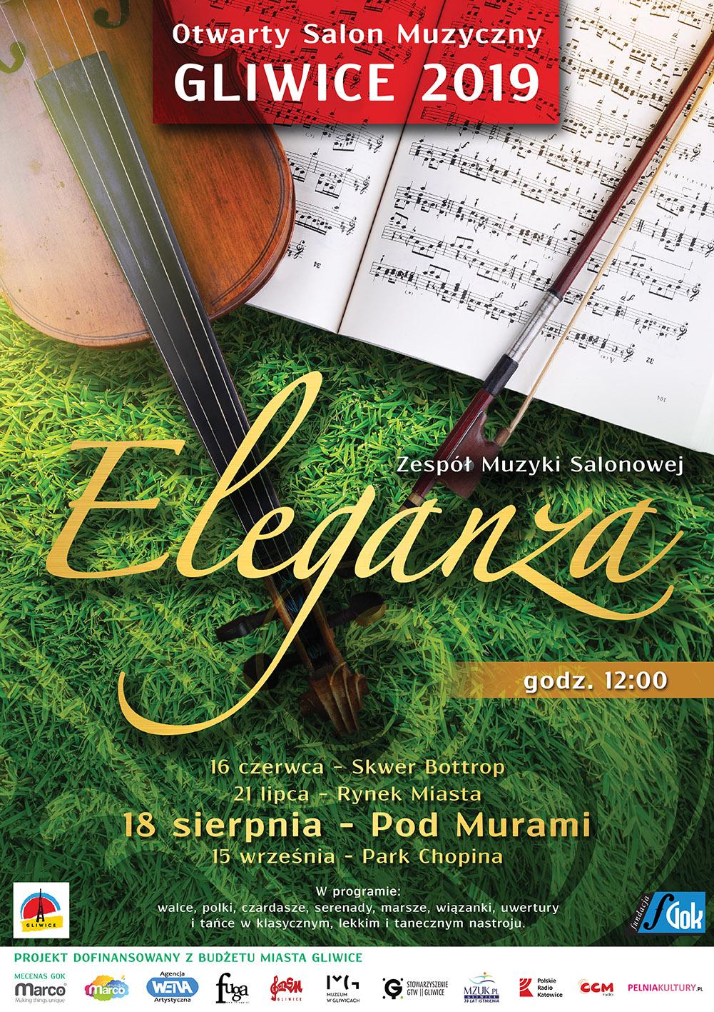"""afisz ELEGANZA z cyklu """"Otwarty Salon Muzyczny"""" edycja III"""