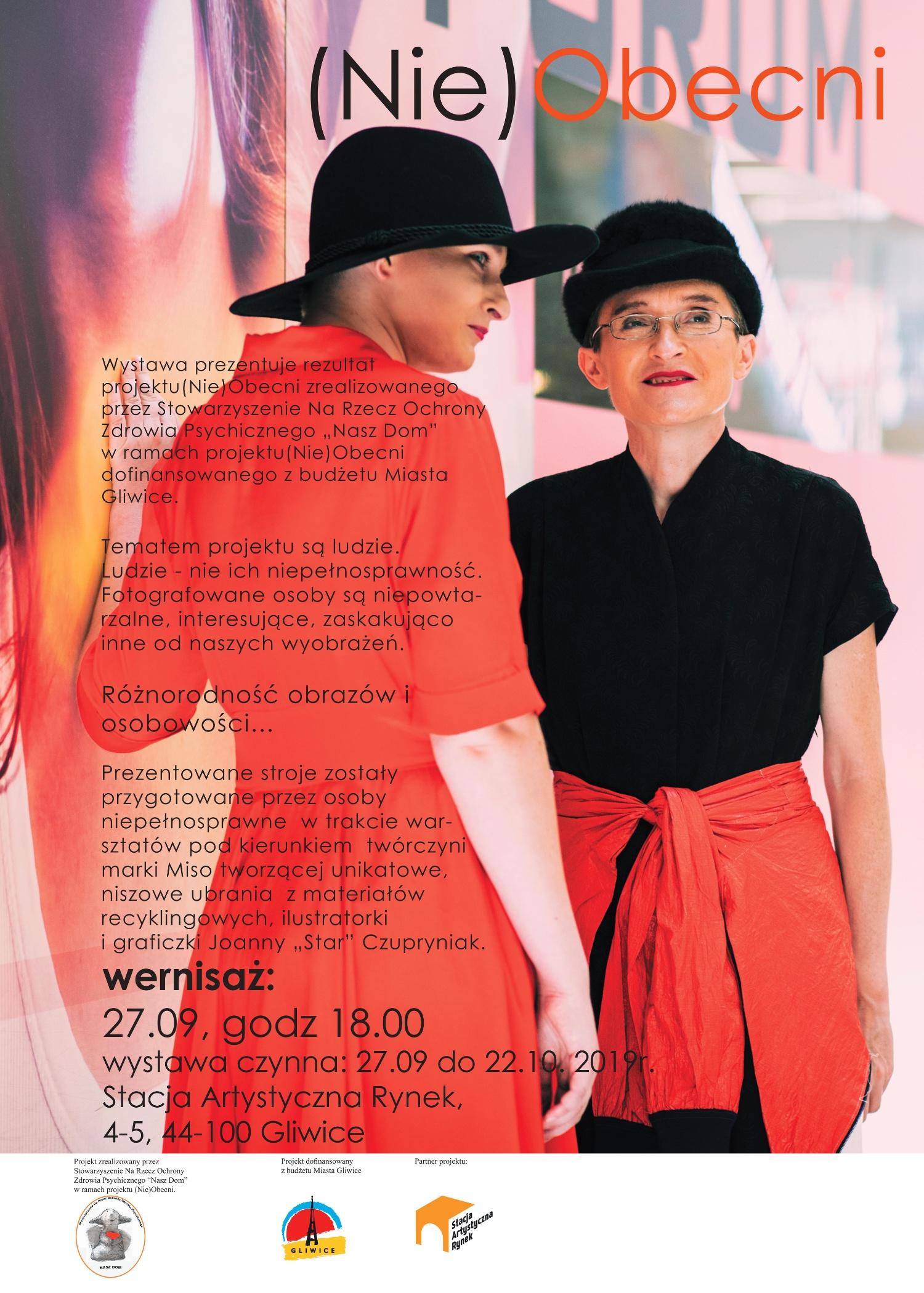 Plakat reklamujący wernisaż wystawy. Na obrazku dwie kobiety, obok tekst na temat projektu realizowanego w Środowiskowym Domu Samopomocy z Sośnicy