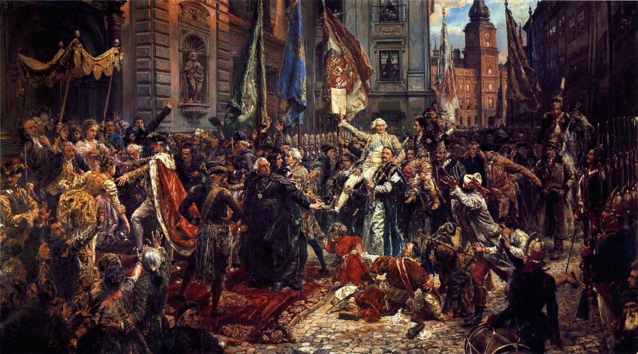 obraz Jana Matejki – wiwatujący tłum przed Zamkiem Królewskim