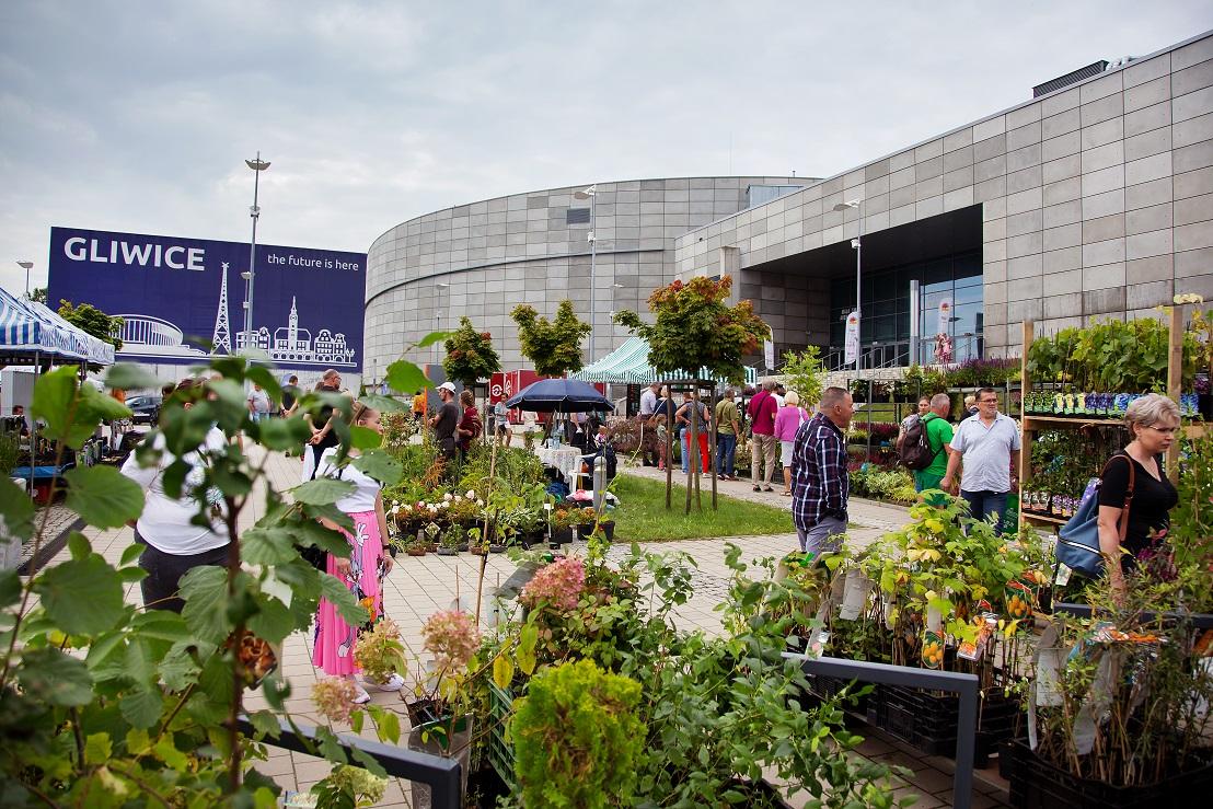 wystawcy z roślinami i odwiedzający przed Areną Gliwice