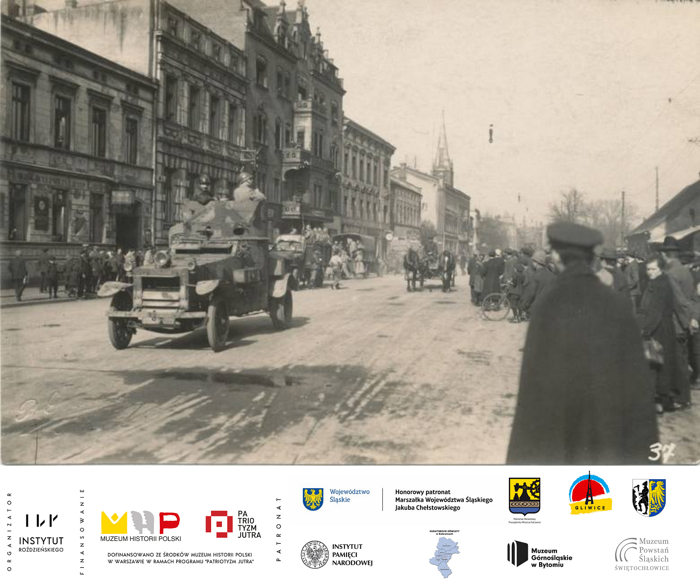 karta historyczna. Francuski samochód pancerny na Bahnhofstrasse (ul. Dworcowa) w Gliwicach, fot. P. Gollan, 26 VI 1921 r.