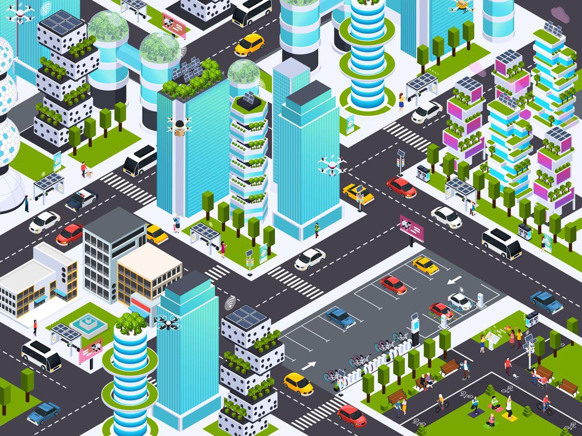 grafika przedstawiająca inteligentne miasto