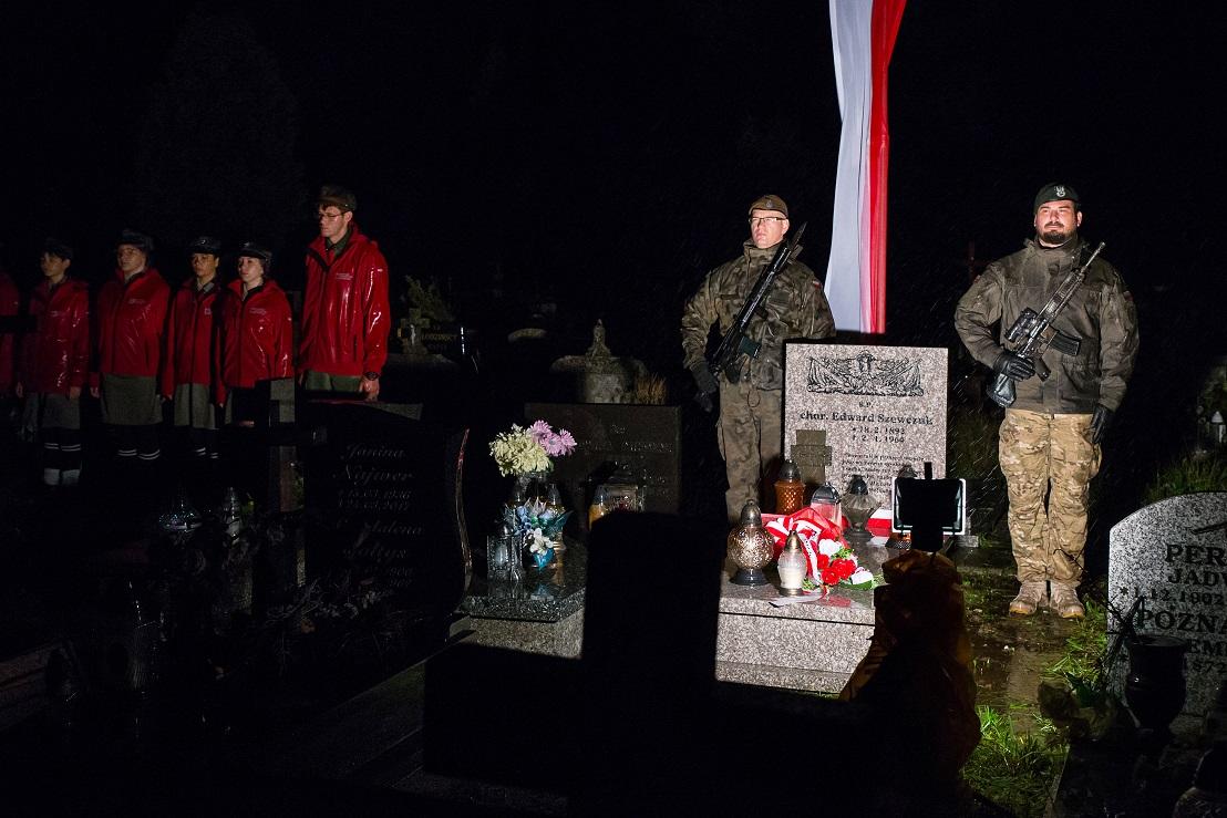 żołnierze przy grobach