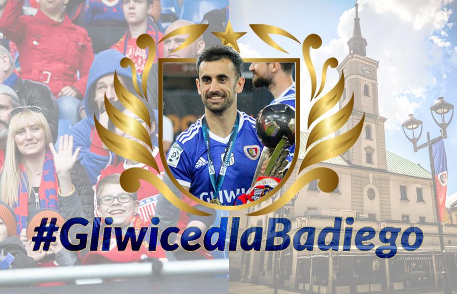 zdjęcie Gerarda Badii i napis #GliwicedlaBadiego