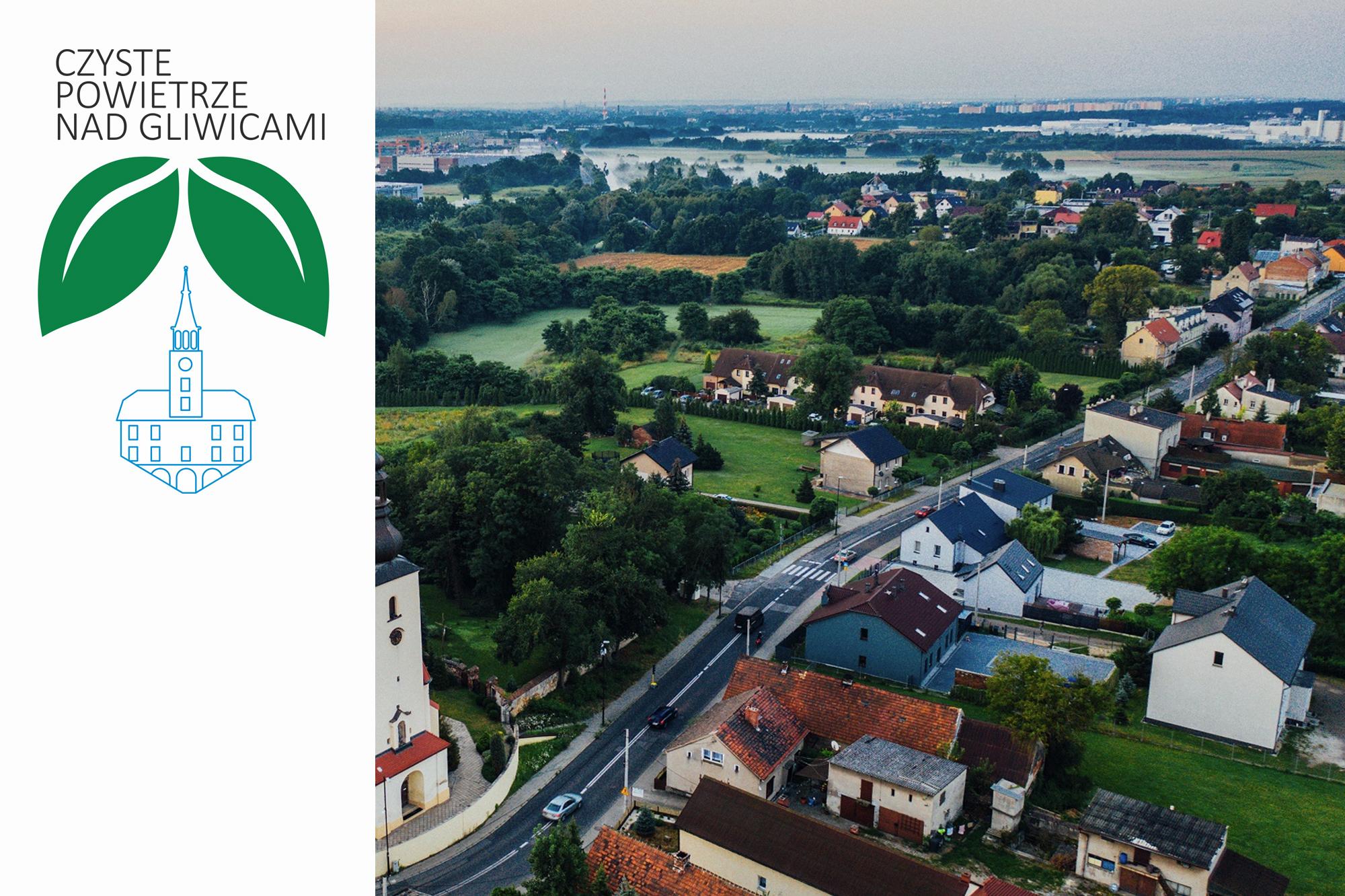 panorama Łabęd z logiem programu Czyste powietrze nad Gliwicami