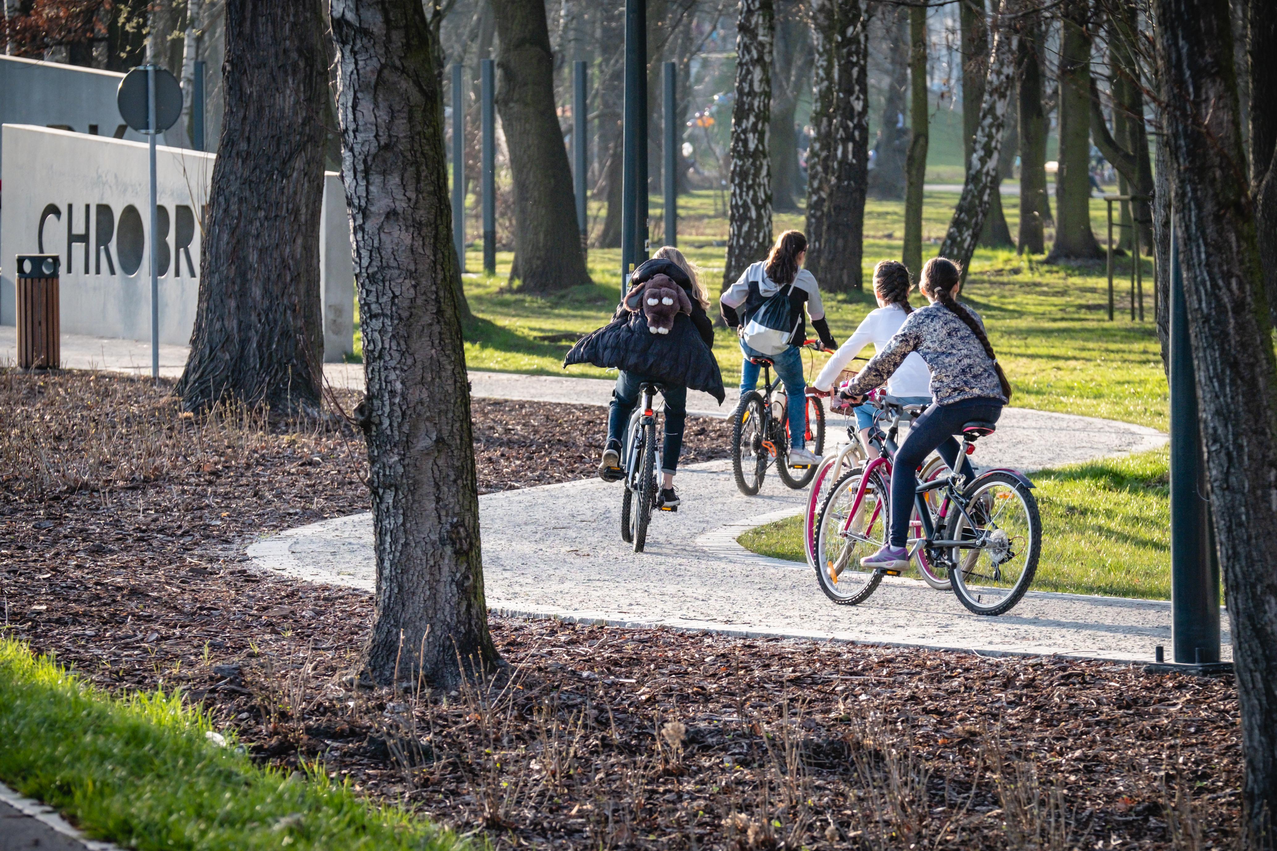 ścieżka rowerowa w parku Chrobrego