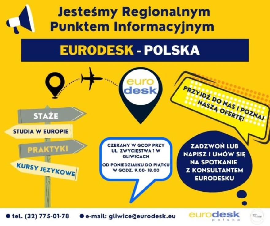 Plakat reklamujący punkt Eurodesk w GCOP
