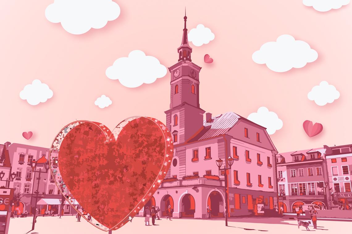 grafika w różowej tonacji, serce na gliwickim rynku
