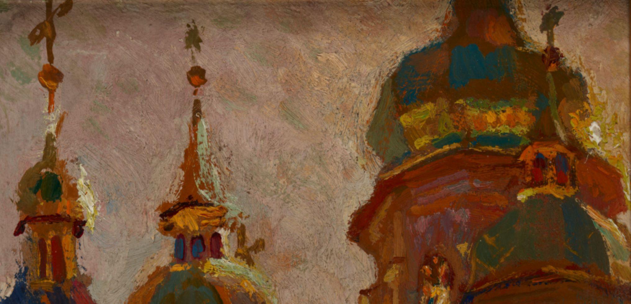 obraz, Jan Stanisławski, Cerkiew sofijska w Kijowie, 1903, ze zbiorów Muzeum Narodowego w Krakowie
