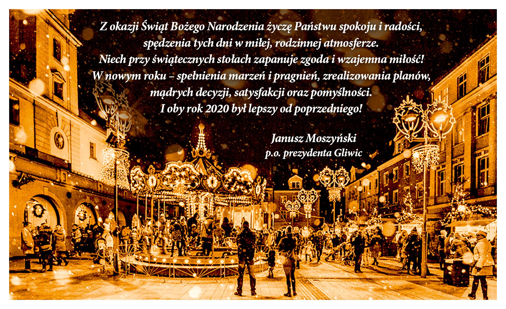 martka z życzeniami, tekst w treści, na zdjęciu Rynek podczas bożonarodzeniowego jarmarku