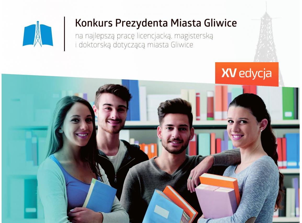plakat konkursu na najlepszą pracę dyplomową o Gliwicach