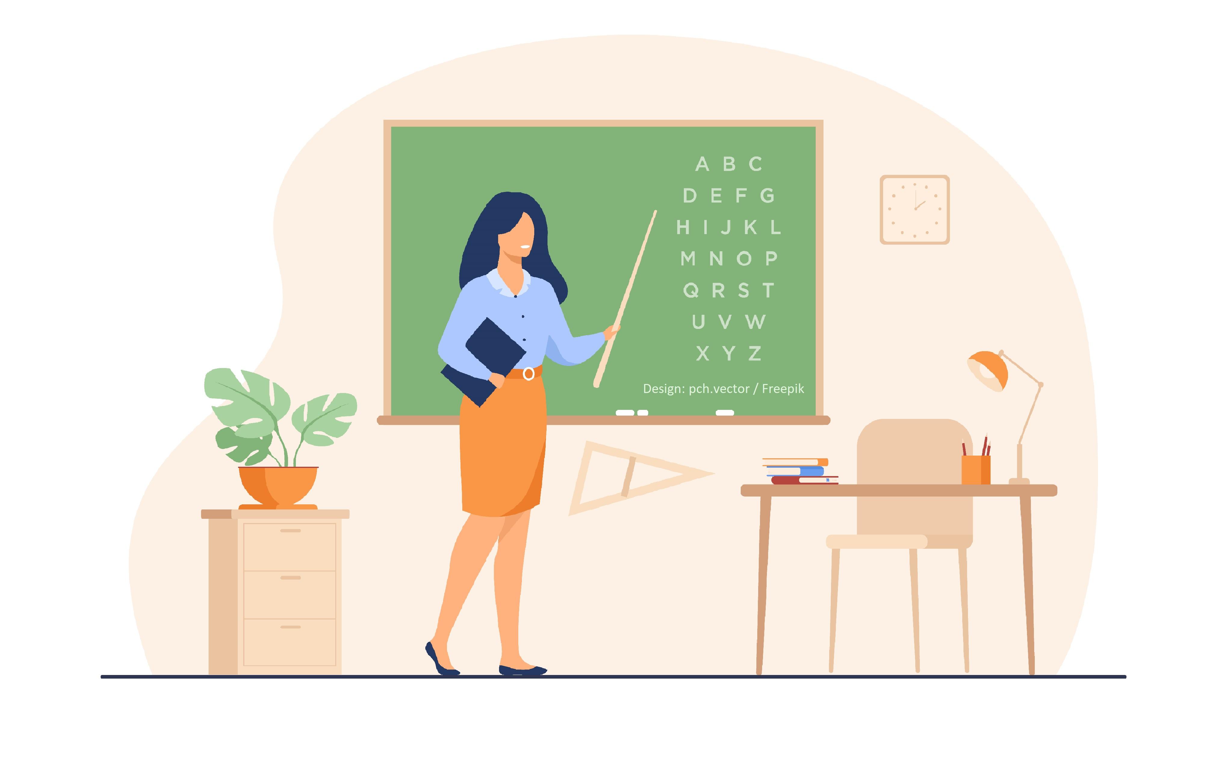 grafika- nauczycielka przy tablicy