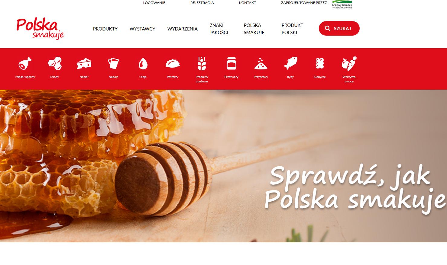 zrzut strony głównej serwisu Polskasmakuje