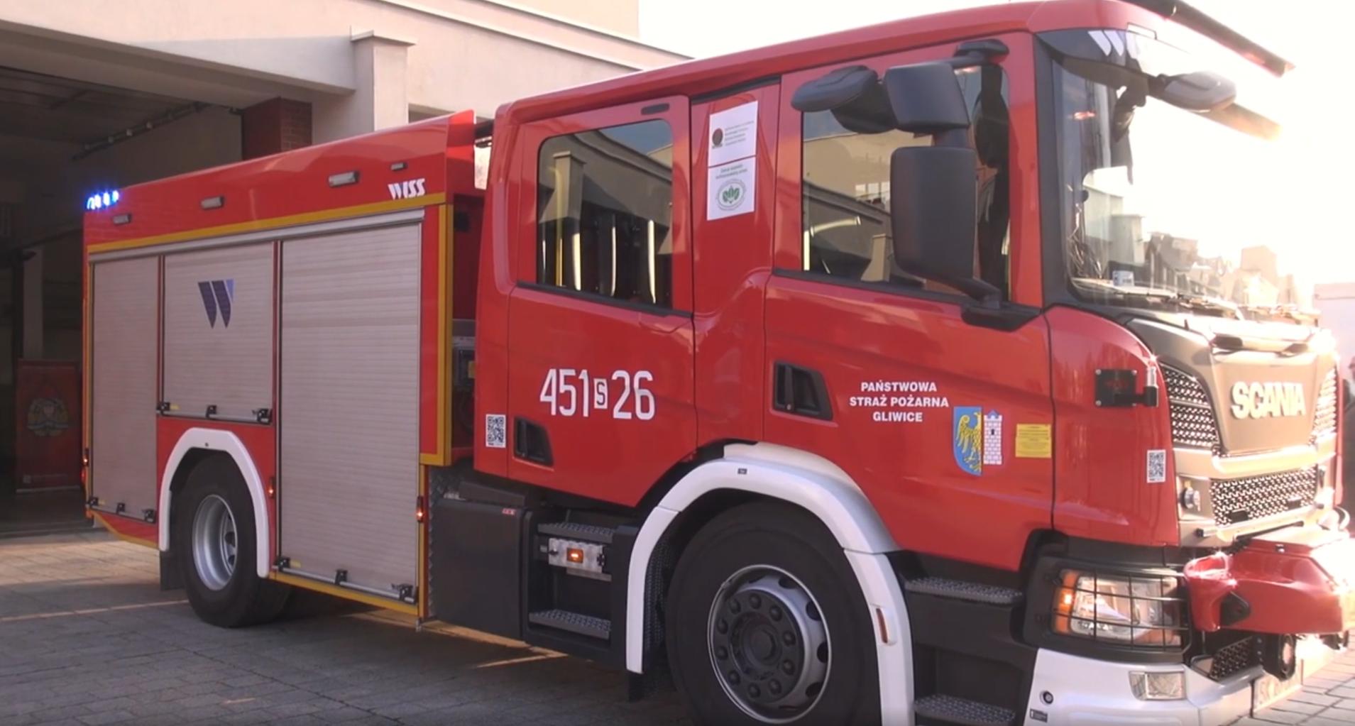 nowy wóz Straży Pożarnej w Gliwicach