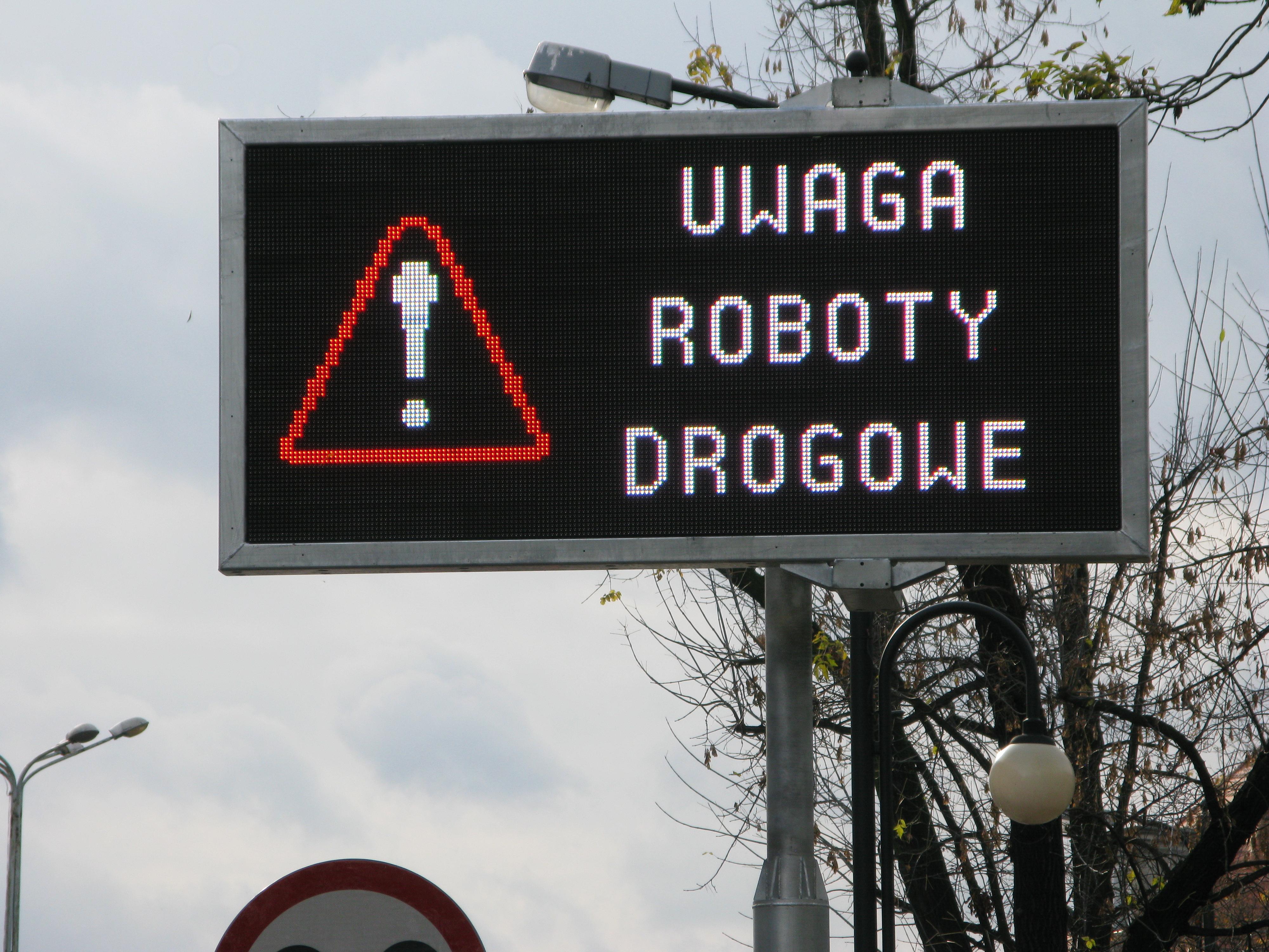 uwaga, roboty drogowe