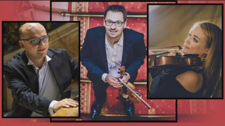 kolaż zdjęć trzech muzyków, jedna kobieta i dwóch mężczyzn