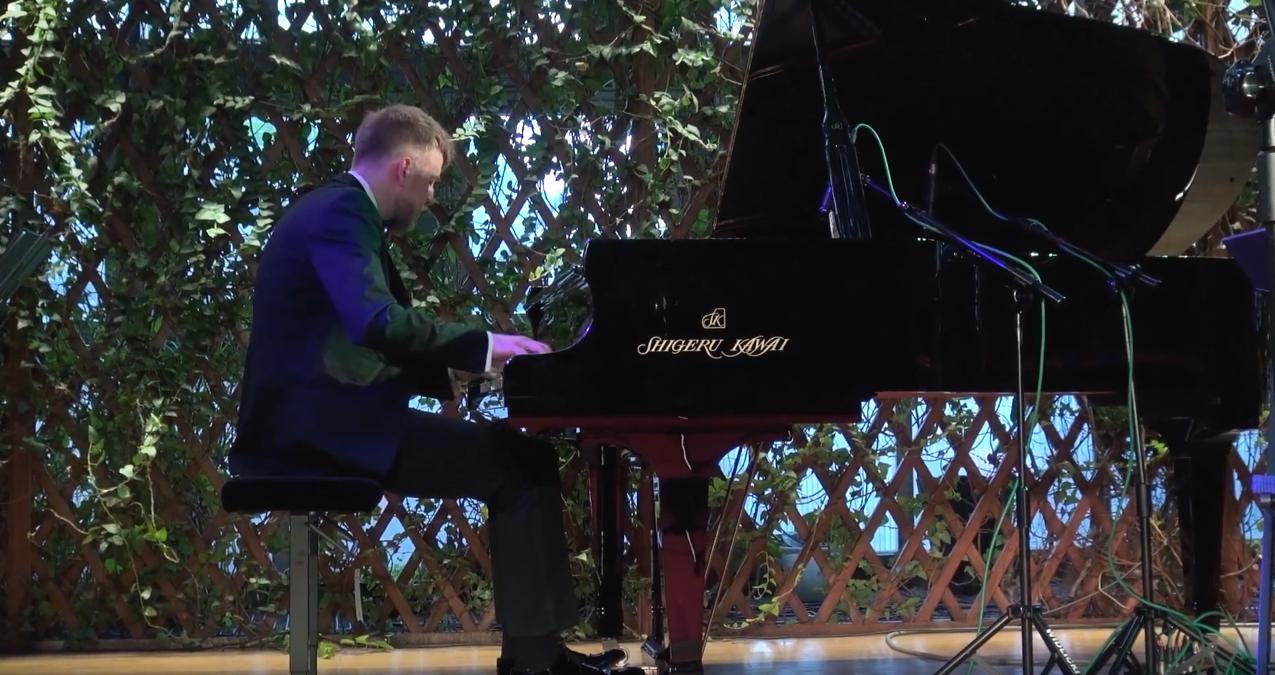 pianista podczas koncertu w Palmiarni