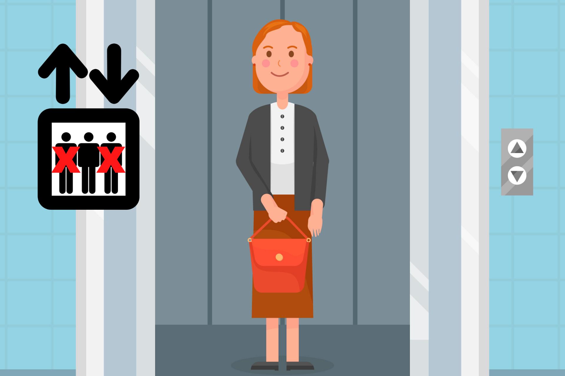 grafika, kobieta w windzie
